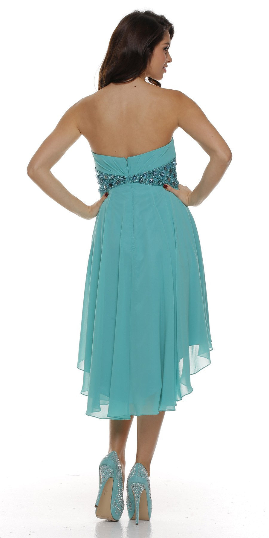 Beaded Empire Waist High Low Strapless Jade Back Party Dress