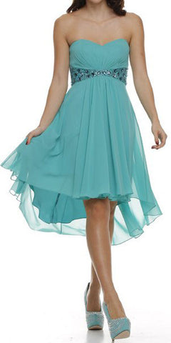 Beaded Empire Waist High Low Strapless Jade Party Dress