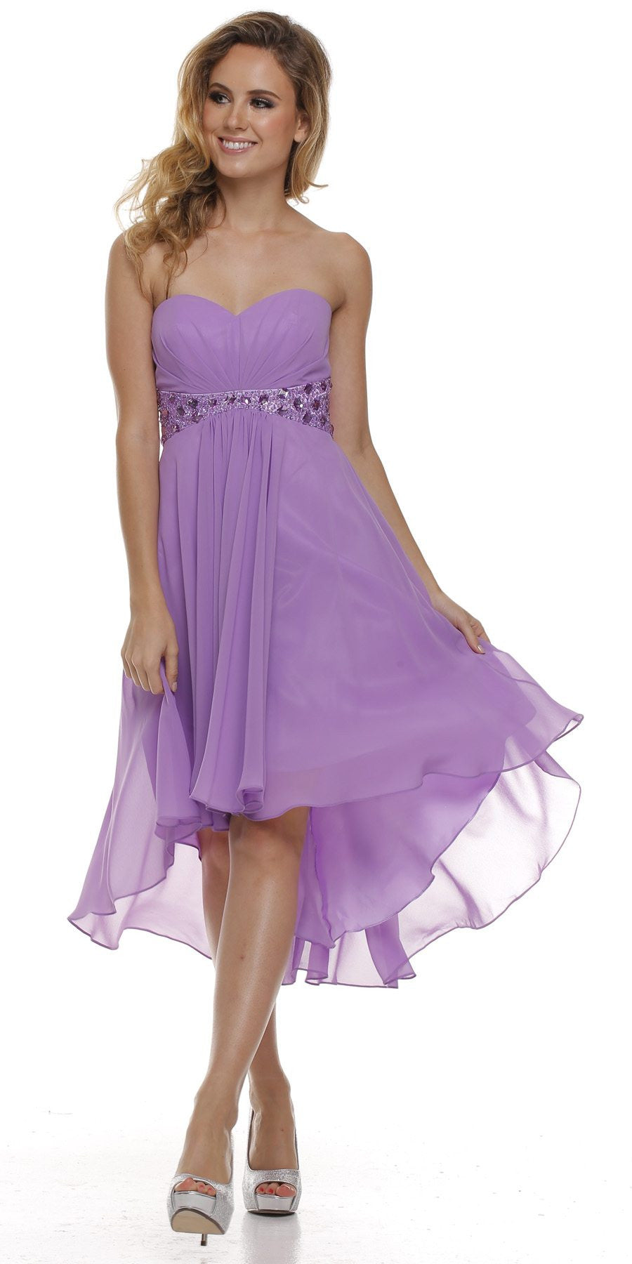 Beaded Empire Waist High Low Strapless Lilac Party Dress