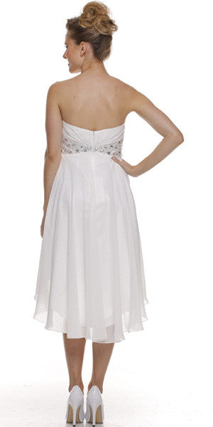 Beaded Empire Waist High Low Strapless Off White Back Party Dress