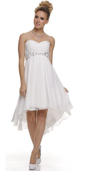 Beaded Empire Waist High Low Strapless Off White Party Dress