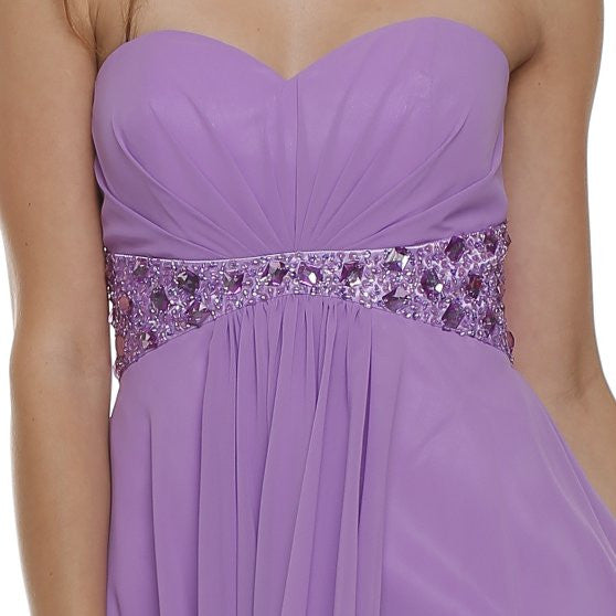 Beaded Empire Waist High Low Strapless Lilac Party Dress Zoom