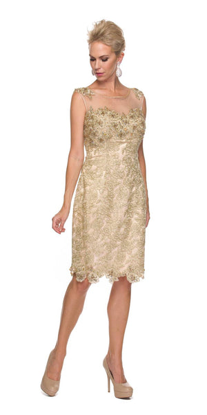 Illusion Neck Sleeveless Knee Length Gold Sheath Dress