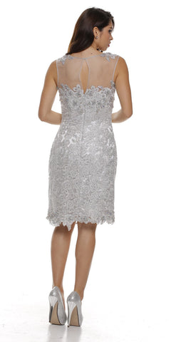 Illusion Neck Sleeveless Knee Length Silver Sheath Dress