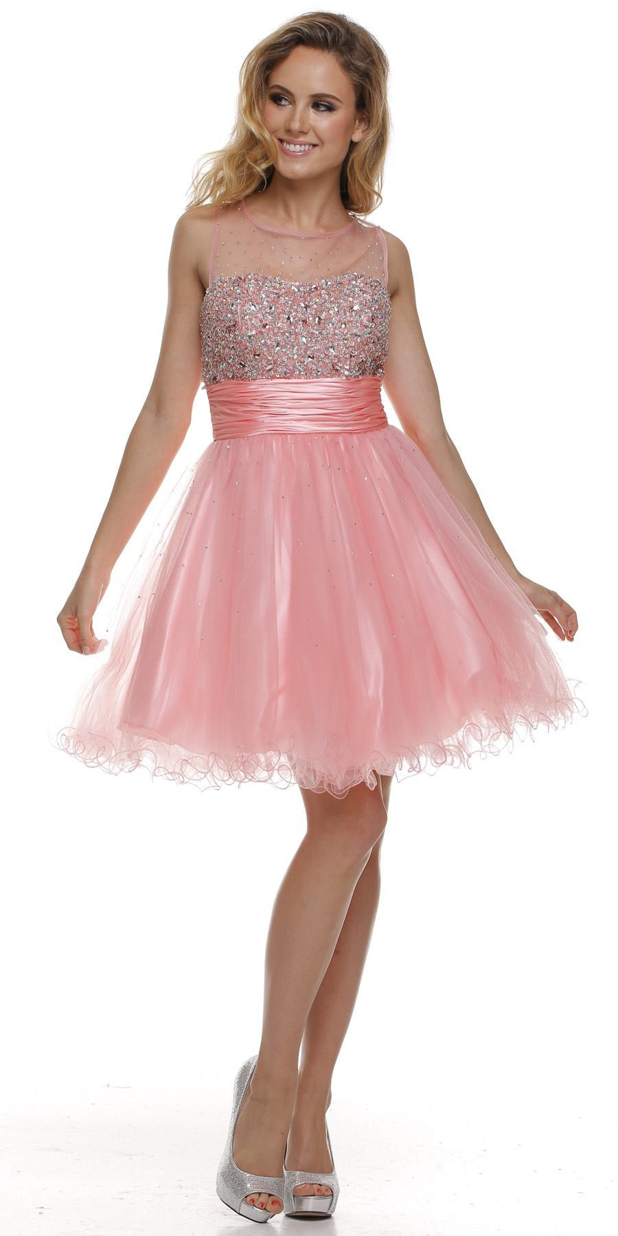 37cec0082186 Ruched Empire Waist Illusion Neck Puffy Blush Prom Dress. Tap to expand