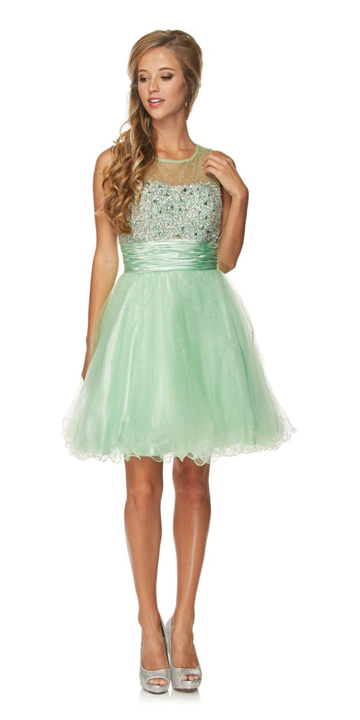 Ruched Empire Waist Illusion Neck Puffy Mint Prom Dress Back