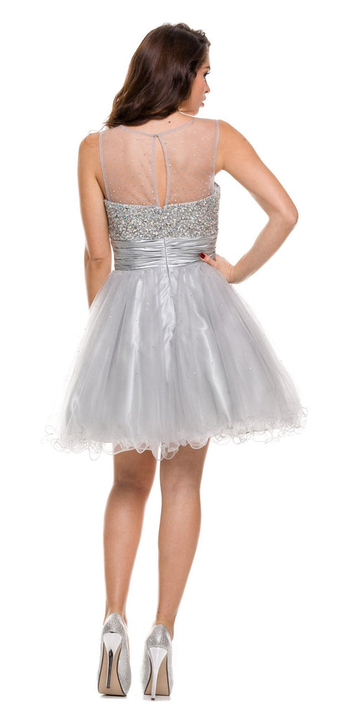 Ruched Empire Waist Illusion Neck Puffy Silver Prom Dress Back