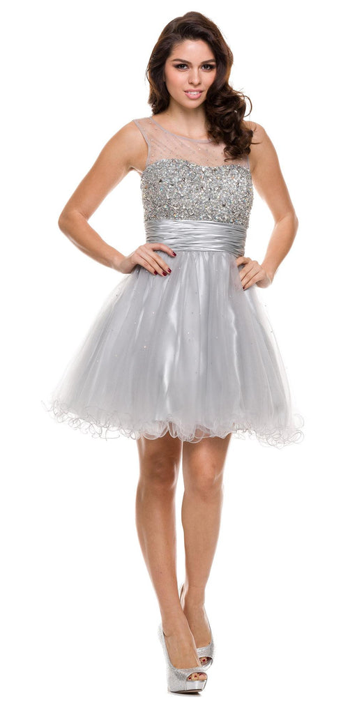 Ruched Empire Waist Illusion Neck Puffy Silver Prom Dress