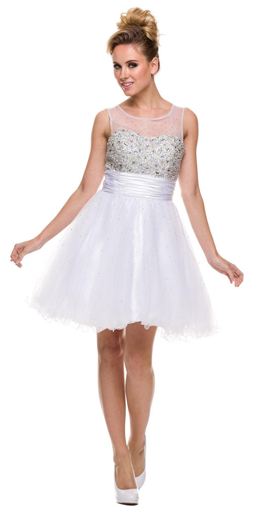 Ruched Empire Waist Illusion Neck Puffy White Prom Dress
