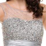 Ruched Empire Waist Illusion Neck Puffy Silver Prom Dress Zoom