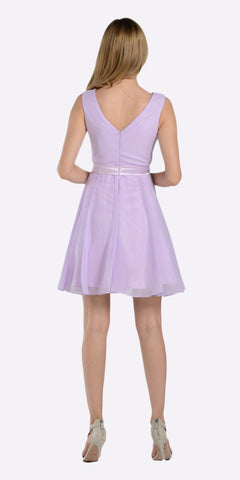 Poly USA 7290 Modest Lilac Semi Formal Chiffon Dress Knee Length A Line Back View