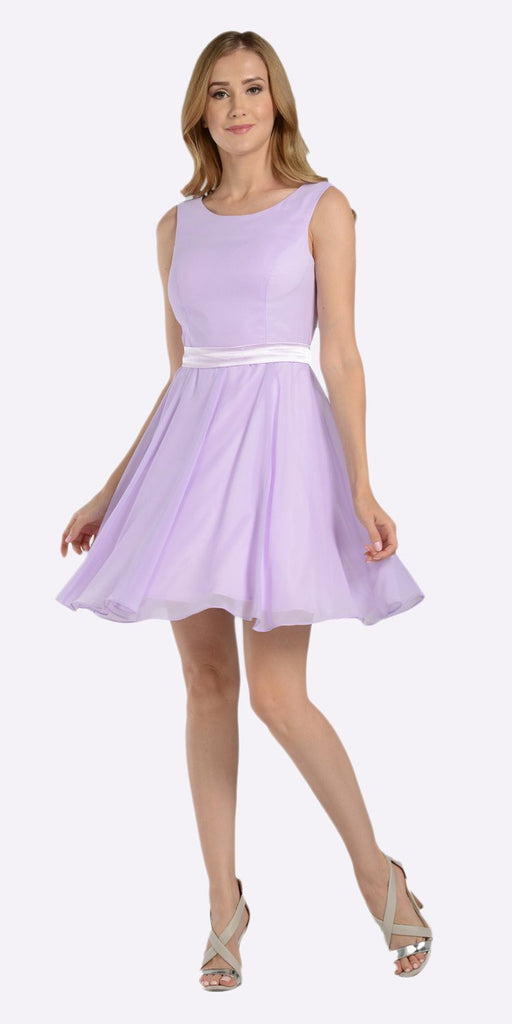 Poly USA 7290 Modest Lilac Semi Formal Chiffon Dress Knee Length A Line