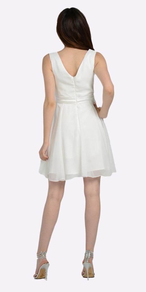 Poly USA 7290 Modest Off White Semi Formal Chiffon Dress Knee Length A Line Back View