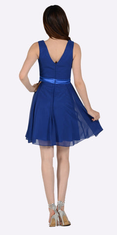 Poly USA 7290 Modest Royal Blue Semi Formal Chiffon Dress Knee Length A Line Back View