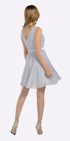 Poly USA 7290 Modest Silver Semi Formal Chiffon Dress Knee Length A Line Back View