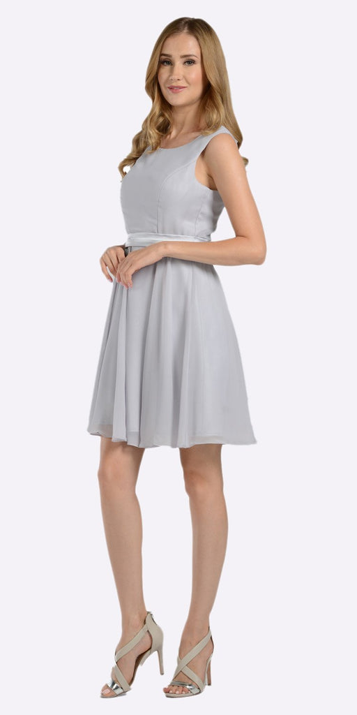 Poly USA 7290 Modest Silver Semi Formal Chiffon Dress Knee Length A Line