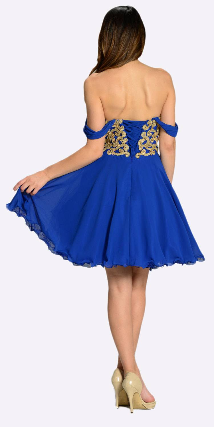 839a37f656d8 ... Poly USA 7296 Short Chiffon Spanish Style Off The Shoulder Dress Royal  Blue Gold Back View ...