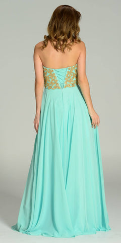 Full Length Chiffon Spanish Style Mint Gold Dress Off Shoulder Lace Applique Back View