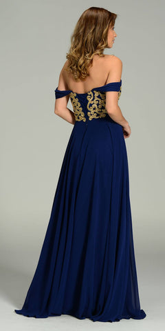 Full Length Chiffon Spanish Style Navy Gold Dress Off Shoulder Lace Applique Back View