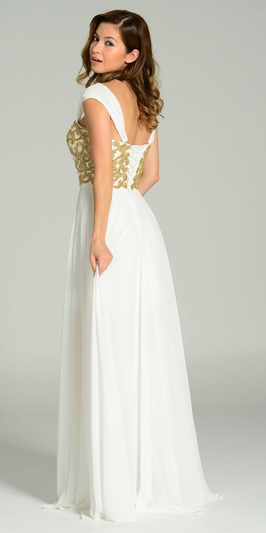 513cca42cf24 ... Full Length Chiffon Spanish Style Off White Gold Dress Off Shoulder  Lace Applique Back View ...