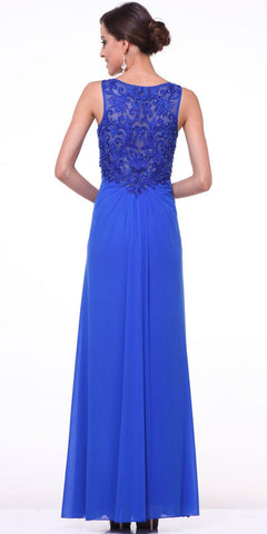 Cinderella Divine 73 Twist Front Royal Blue Evening Dress Chiffon Front Slit V Neckline Back