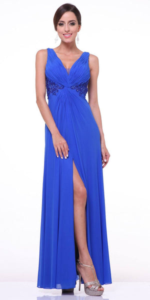 Twist Front Royal Blue Evening Dress Chiffon Front Slit V Neckline