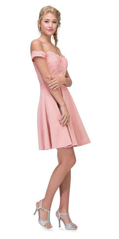Off-Shoulder Short Homecoming Party Dress Blush