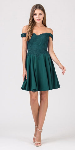 Eureka Fashion 7300 Off-Shoulder Short Homecoming Party Dress Hunter Green