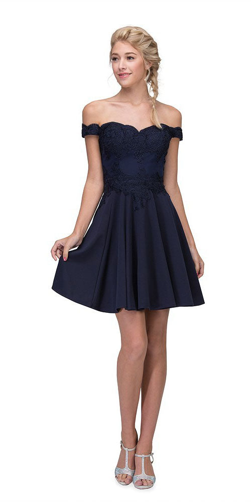 Off-Shoulder Short Homecoming Party Dress Navy Blue
