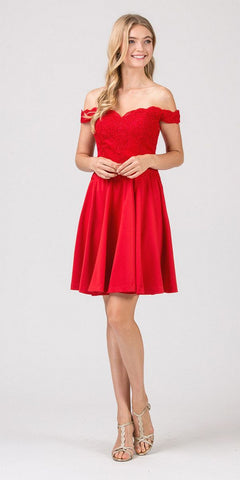 Eureka Fashion 7300 Off-Shoulder Short Homecoming Party Dress Red