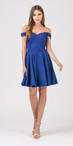 Eureka Fashion 7300 Off-Shoulder Short Homecoming Party Dress Royal Blue