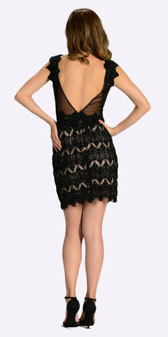 Poly USA 7302 Sexy Sheer Neckline Black Nude Lace Knee Length Dress Back View