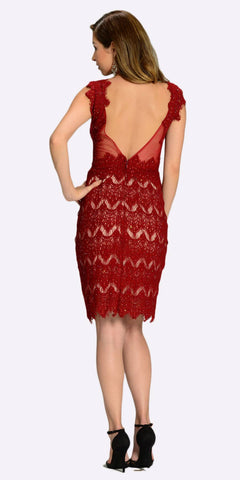 Poly USA 7302 Sexy Sheer Neckline Burgundy Lace Knee Length Dress Back View