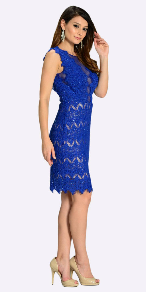 Poly USA 7302 Sexy Sheer Neckline Royal Blue Lace Knee Length Dress Side View