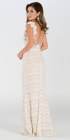 Poly USA 7306 Floor Length Lace Prom Gown Ivory Illusion Back View