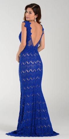 Poly USA 7306 Floor Length Lace Prom Gown Royal Blue Illusion Back View