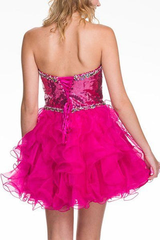 Shiny Short Sequins Homecoming Dress Fuchsia Sweetheart Tulle