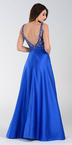 Poly USA 7314 Satin A Line Prom Dress Royal Blue Long V Neck