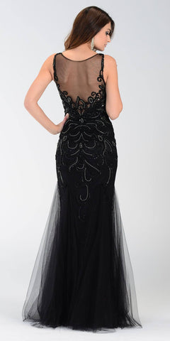Poly USA 7322 Long Mermaid Prom Dress Black Sleeveless Back View