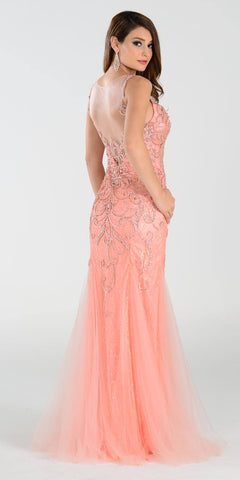 Poly USA 7322 Long Mermaid Prom Dress Coral Sleeveless Back View