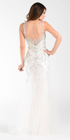 Poly USA 7322 Long Mermaid Prom Dress Off White Sleeveless Back View