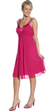 Chiffon Fuchsia Dress Bridesmaid Knee Length Rhinestones Straps Gown