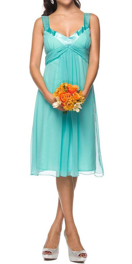Chiffon Jade Dress Bridesmaid Knee Length Rhinestones Straps Gown