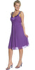 Chiffon Purple Dress Bridesmaid Knee Length Rhinestones Straps Gown