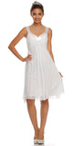 Chiffon White Dress Bridesmaid Knee Length Rhinestones Straps Gown