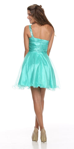One Shoulder Jade Short Dress Sparkly Sequins Glitter Tulle Skirt Back