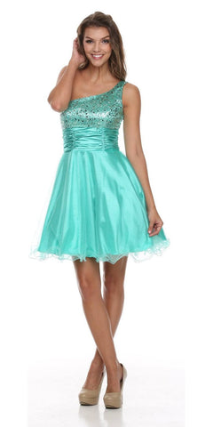 One Shoulder Jade Short Dress Sparkly Sequins Glitter Tulle Skirt