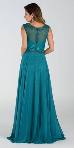 Poly USA 7332 Long A Line Formal Gown Green Chiffon Bead Top Back View