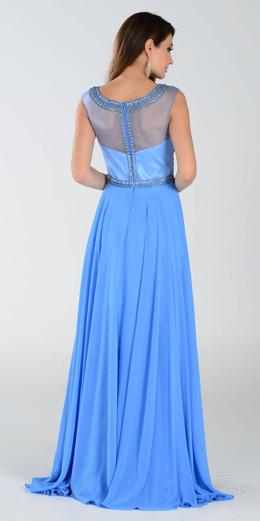 Poly USA 7332 Long A Line Formal Gown Periwinkle Chiffon Bead Top Back View