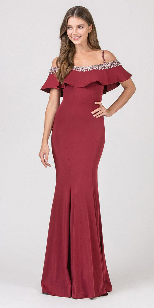 Eureka Fashion 7333 Embellished Cold-Shoulder Long Prom Dress Burgundy